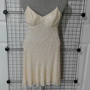 Silk beaded cocktail dress NWOT